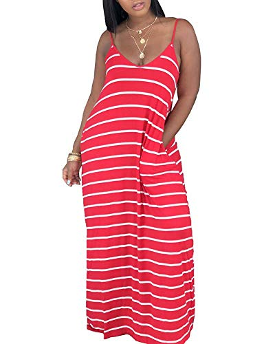 Womens Casual Maxi Dress - African Loose Oversize Spaghetti Strap Stripe Dress Outfit with Pockets Red