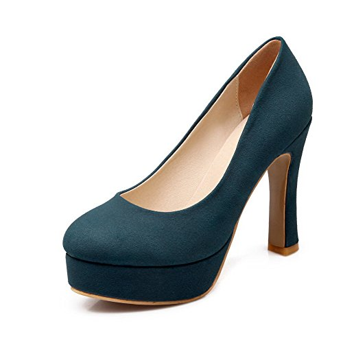 heels on Blue Women's Pumps Soild Pull High Patent Leather Odomolor shoes dx0XCwqvX