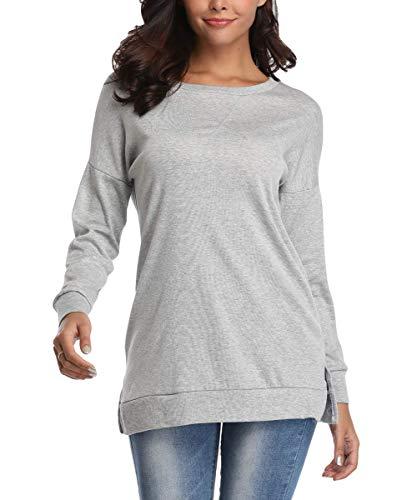 - Kool Classic Women's Casual Long Sleeve Crewneck Side Split Loose Pullover Tunic Tops Grey Medium