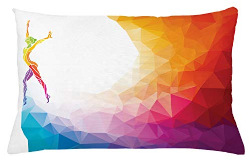 """Ambesonne Sports Throw Pillow Cushion Cover, Gymnastics Girl Gymnast Portrait Colored Geometric Digital Shapes Modern Olympics, Decorative Rectangle Accent Pillow Case, 26"""" X 16"""", White Ruby"""