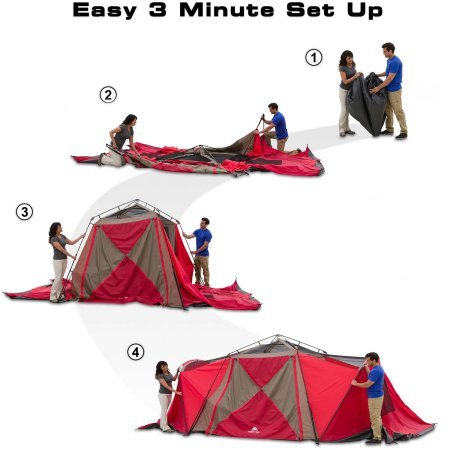 Ozark Trail 21 X 10 3 Room Instant Tent With Awning
