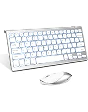 Jelly Comb Backlit Bluetooth Keyboard and 2.4 G+ Bluetooth Mouse Combo for The New iPad 10.2, iPad Air 4/3/2, iPad Pro 10.5/11/12.9, iPad 5 Gen&Later, iPad 7/6/5, iPad Mini 4 Gen&Later, iPhone, White