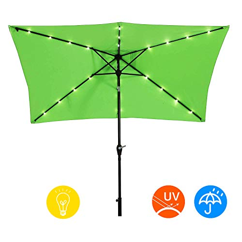 AI-LIN 10 x 6.5ft LED Lighted Patio Market Umbrella Outdoor Solar Powered Table Umbrella, 6 Ribs (Light Green) (Led Umbrella Patio)