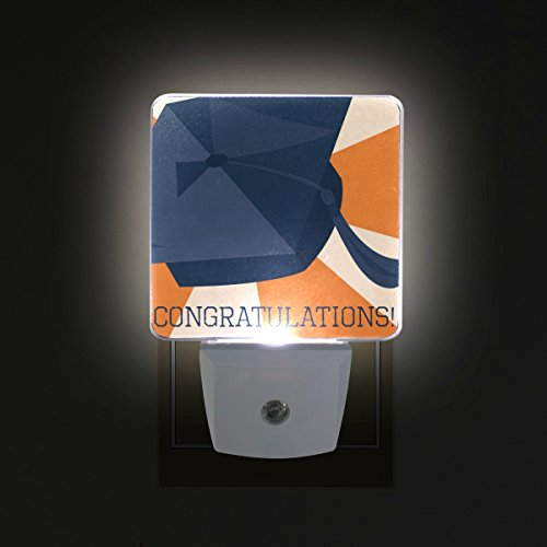 - DEYYA Congrats Grad Graduation Cap And Diploma Plug in LED Night Light, Night Auto Sensor Smart Lighting Dusk to Dawn Decorative Night for Bedroom Bathroom Kitchen Hallway Baby's Room,US Plug,2 Pack