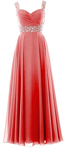 MACloth Women Straps Crystal Chiffon Long Prom Wedding Party Dress Evening Gown Watermelon