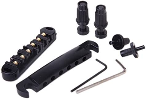 Vaorwne Black Roller Saddle Tune Bridge nd Tailpiece for Guitar 4.5/×2.3cm