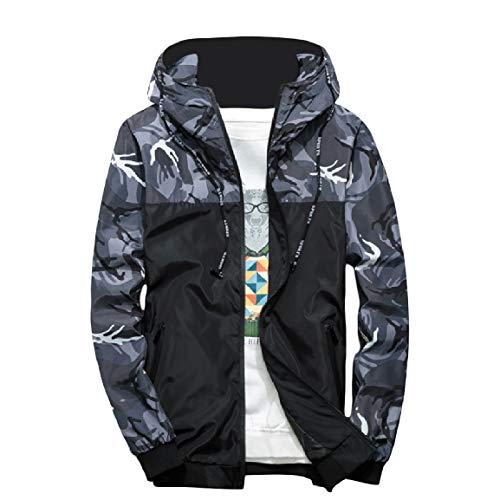 with Grey Overcoat Camouflage Comfort Zips Activewear Hood Pocket MogogoMen xwC61n8Ox