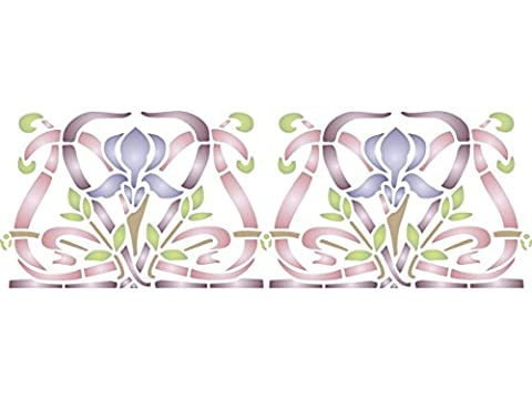 "Iris Stencil - (size 13""w x 8.5""h) Reusable Wall Stencils for Painting - Best Quality Wall Border Flower Art Nouveau Stencil Ideas - Use on Walls, Floors, Fabrics, Glass, Wood, Terracotta, and"