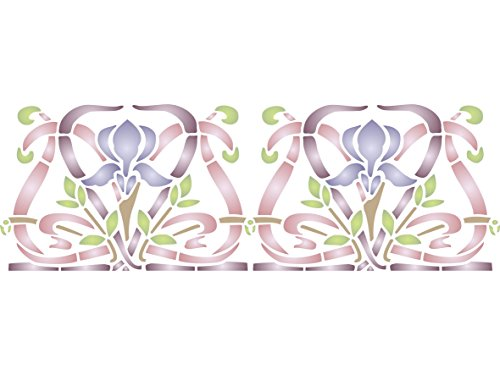 """Nouveau Iris (Iris Stencil - (size 7.5""""w x 4.5""""h) Reusable Wall Stencils for Painting - Best Quality Wall Border Flower Art Nouveau Stencil Ideas - Use on Walls, Floors, Fabrics, Glass, Wood, Terracotta, and More…)"""