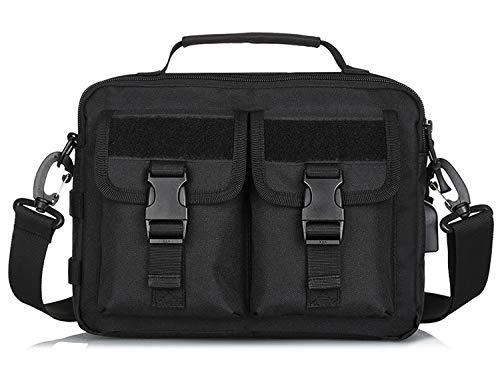 CamGo Multifunction Tactical Messenger Bag Mens Water-resistant Crossbody Shoulder Briefcase with USB Port (Black)