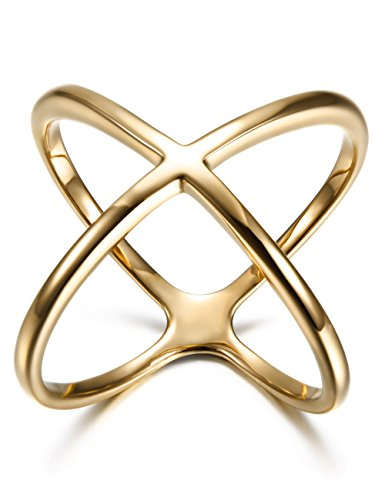 10 X Gold Plated - Wistic Stainless Steel Ring Gold Plated Women Criss Cross Ring, Size 7-10 (Gold, 10)