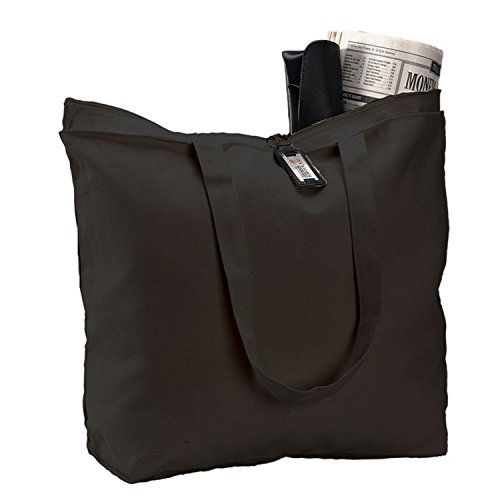 (6 Pack) Set of 6 Heavy Canvas Large Tote Bag with Zippered Closure (Black)