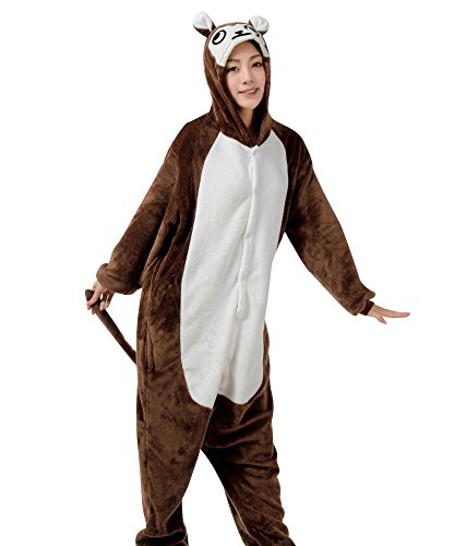 Fire Monkey Costume (MissFox Unisex Adult Kigurumi Pajamas Costume Cosplay Homewear Lounge Wear XL Brown Monkey)