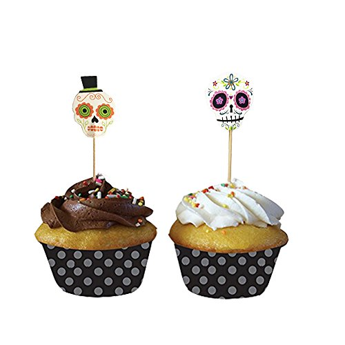 PARTYMASTER Halloween Decorations Skeleton Design Lot of 24 Food Toothpicks Cupcake Muffin Toppers Cupcake Picks,Mixed Packaging