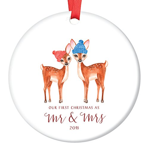 Love Deer First Christmas as Mr & Mrs Ornament 2018, 1st Married Christmas Porcelain Ornament, 3