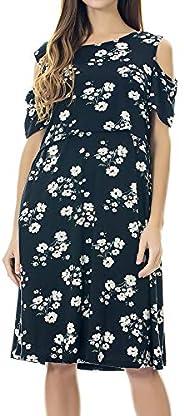 Smallshow Maternity Nursing Dress Cold Shoulder Breastfeeding Dresses for Women