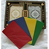 2 Free Cut Cards + KEM Arrow Black Gold Playing Cards Poker Size Regular Index by KEM