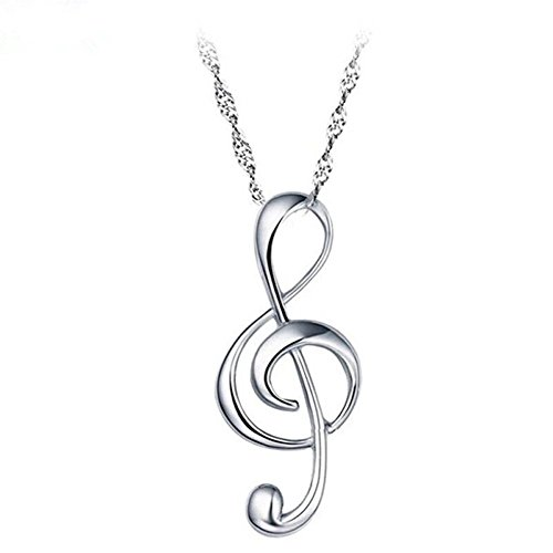 925 Sterling Silver Musical Symbols Note Pendant Necklace Fine Jewelry for Women LSN26 ()