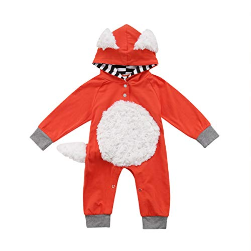 Newborn Infant Toddler Baby Girl/Boy Fox Long Sleeve Jumpsuit Hooded Romper Bodysuit Overall Fall Winter Outfit (70/0-6M, Orange+Grey)]()