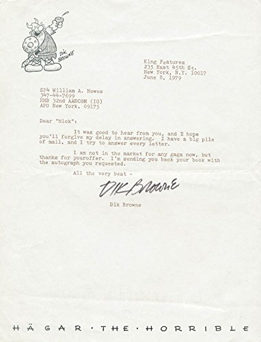 Dik Browne Typed Letter Signed 06/08/1979