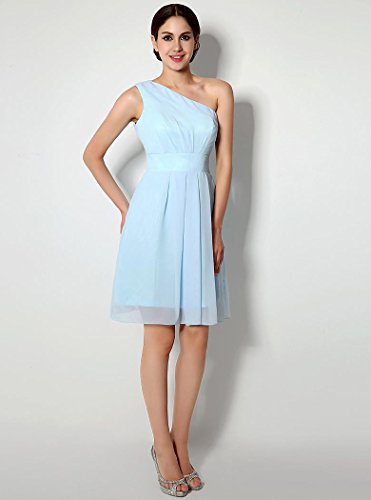 Cocktail Beauty One Sleeveless Shoulder Chiffon Dress Blue Knee Above Emily wUZqwR7