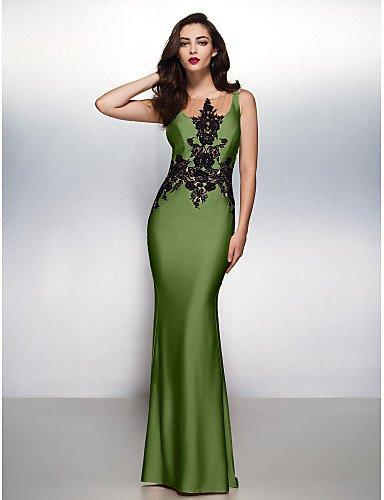 Jersey Prom Gala De Apliques Vestido Cuello Boca amp;OB Noche Con HY Cepillo Lazo Formal Green Trompeta Barrer Sirena Negro Tren q8znaA