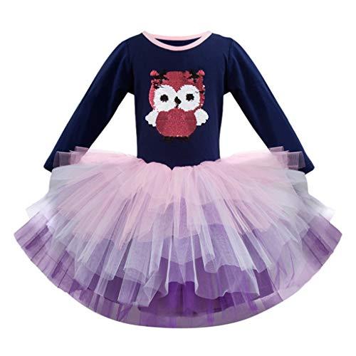 (SMALLE◕‿◕ Hot Baby Girl Long Sleeved Cartoon Animal Cute Owl Gauze Princess Tutu Dress-Dance Costume)