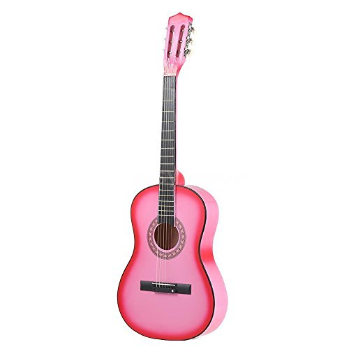 "38"" PINK Acoustic Starter Guitar (7/8 Size) & DirectlyCheap(TM) Translucent Blue Medium Guitar Pick"