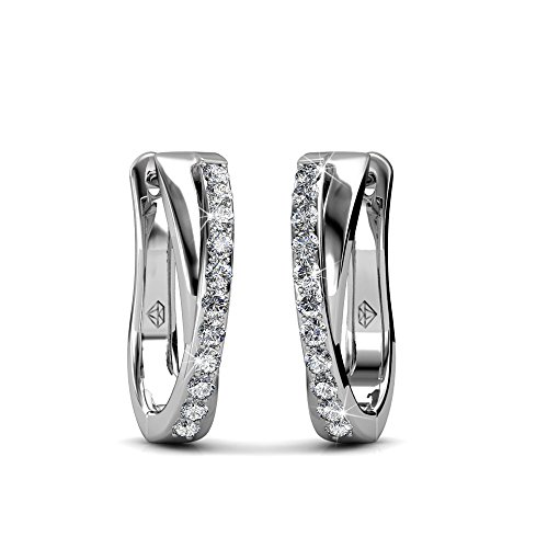 a8f01b387 Cate & Chloe Amaya Adventurous 18k White Gold Plated Hoop Earrings with  Swarovski Crystals, Sparkling