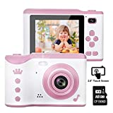 "Kids Camera, 8.0MP Creative Digital Dual Camera, Rechargeable Children Camcorder with 2.8"" Touch Screen, 4X Digital Zoom, Gift for 3-12 Years Old Girls Boys Party Outdoor, Pink(16GB TF Card Included) Reviews"