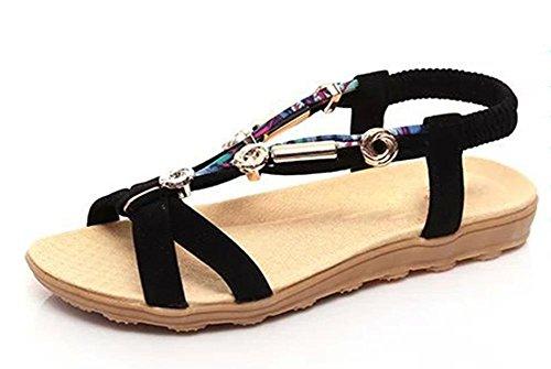 Tela zapatos de mujer sandalias de suela blanda con cuentas de cabeza plana sandalias de pescado Black