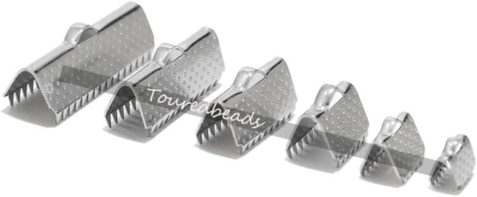 20 piezas de acero inoxidable con cinta dorada con textura de clip de clip de pinza de extremo de engarzado con punta de brazalete con dientes de 6 tamaños, 15 x 7 mm (C911507)
