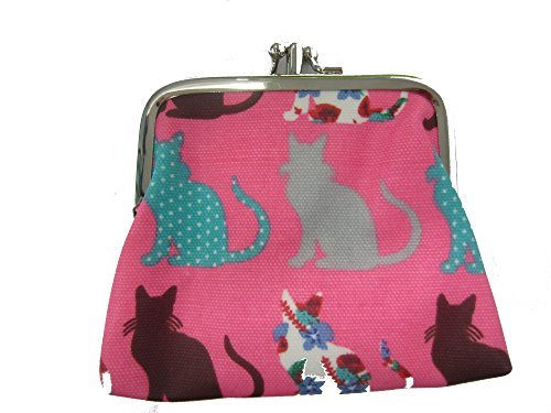 Miss Lulu Designer Oil Cloth Clasp Coin Purse (Cat Plum) from Miss Lulu