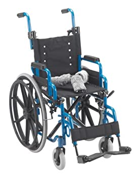 Drive Medical Wallaby Pediatric Folding Wheelchair, Blue, 14 Inch