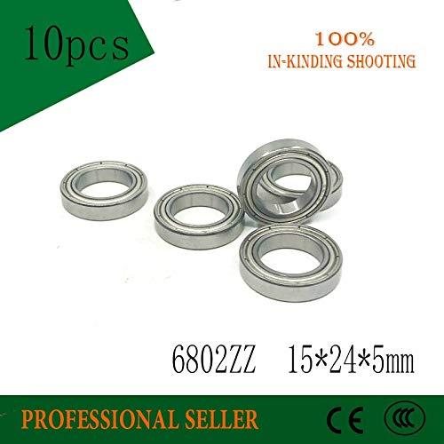 Fevas 10PCS 6802ZZ ABEC-5 15x24x5MM Metric Thin Section Bearings 61802Z 6802 ZZ