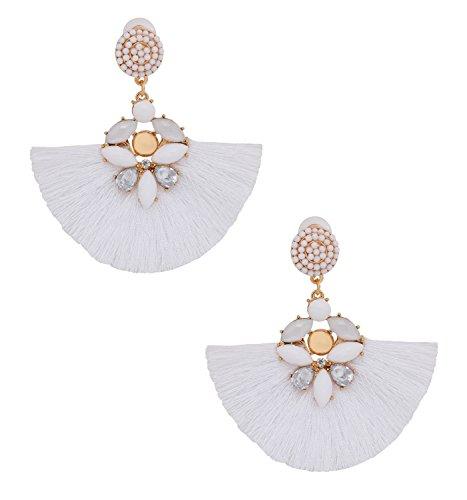 ELEARD Fan Tassel Earrings Crystal Beaded Fringe Dangle Earrings Seed Beaded Stud Statement Drop Earrings (White) by ELEARD