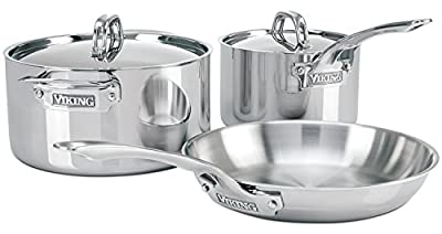 Viking Culinary 3-Ply Stainless Steel 5 Piece Cookware Set