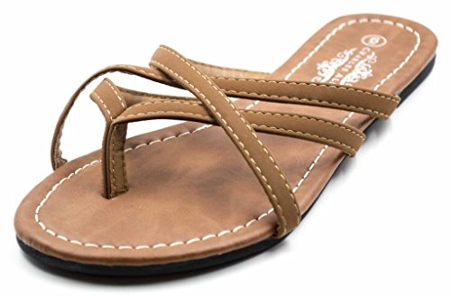 Cross Crochet (Charles Albert Women's Selene Strap Multi Sandal in Cognac Size: 8)
