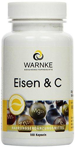 Warnke Gesundheitsprodukte Eisen und C, 14 mg Eisen mit Vitamin C zur Eisenresorption, B12 zur Blutbildung und Biotin, 100 Kapseln, 1er Pack (1 x 37 g)