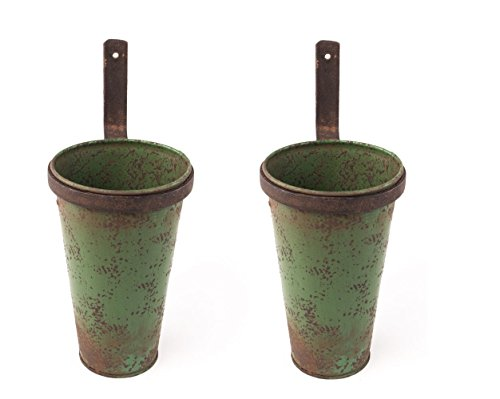 Rustic Aged Green Hanging Pots Shabby Chic Farmhouse Primitive Style Wall Flower Holder Planter Cup Basket for Flowers, Florals, Utensils, Tools, Flatware - Set of 2, Home Decor