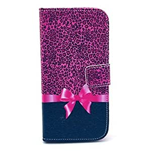 Leopard Bow Pattern PU Leather Case Cover with Stand for LG Google Nexus 5 E980