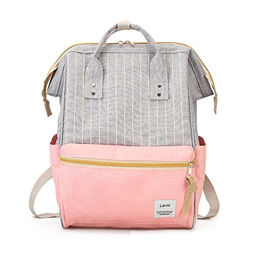H&N Japan Korea Style Girls Fashion Canvas Backpack Teenagers Casual Student School Bag Daypack Pink