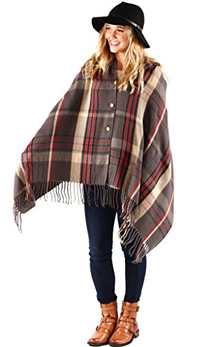 FLASH SALE - Pretty Simple Plaid Button Blanket Scarf Shawl Women's Wrap