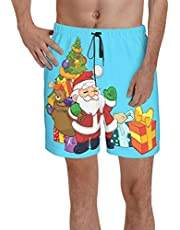 CGGF Men's Beach Shorts, Quick Dry, Fashion Style Trunks with Mesh Lining, Christmas Santa 3 Pockets Swim Shorts for Men