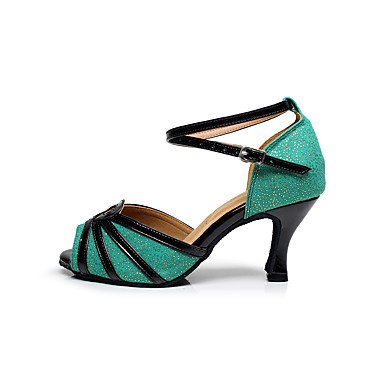 XIAMUO Anpassbare Damen Tanz Schuhe funkelnden Glitter funkelnden Glitter Latein Sandalen Stiletto HeelPractice/Anfänger/Professional/, Hellgrün, US5/EU 35/UK3/C
