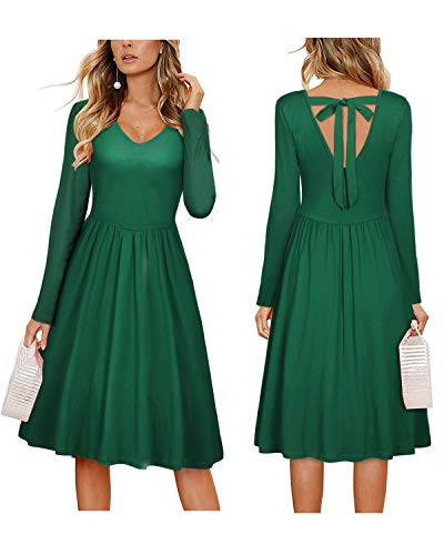 OUGES Womens Winter Long Sleeve V Neck Tie Back Plain Dress with -