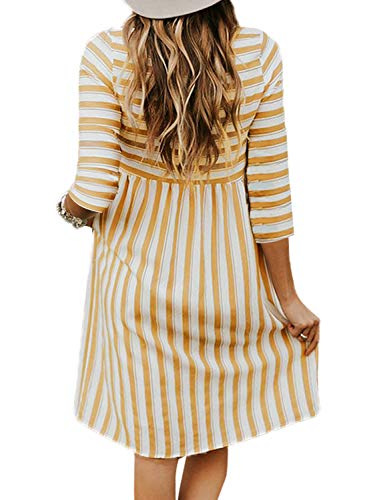 Short Dress V Orange Midi Sleeve Women's 1 Anloli Button Down Striped Neck Printed Loose q4wawPtxR