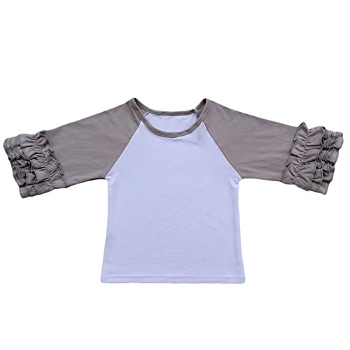 Toddler Girls Icing Ruffle Shirts Kids Raglan T Shirts Baseball 3/4 Sleeves Baby Cotton Tee Tops Little Big Sisters Family Matching Crew Neck T-Shirt Birthday Casual School Clothes Gray 6-7 Years (Birthday Sleeve 3/4)