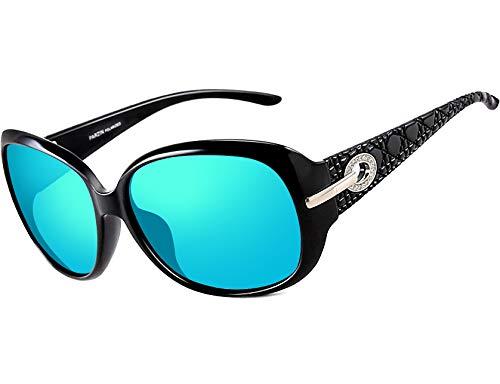 ATTCL Women Polarized UV400 Sunglasses Fashion Plaid Oversized Sunglasses (Blue, 6214)