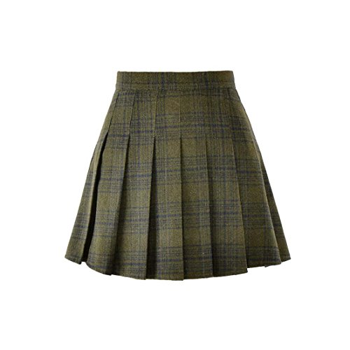 Girls Skirts Plaid Green (Hoerev Women Girls Versatile Plaid Pleated Skirt with Shorts for Cold Weather Green)